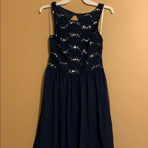 Blue dress with sequined top.